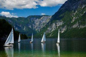 Sailing on Lake Bohinj, Slovenia.