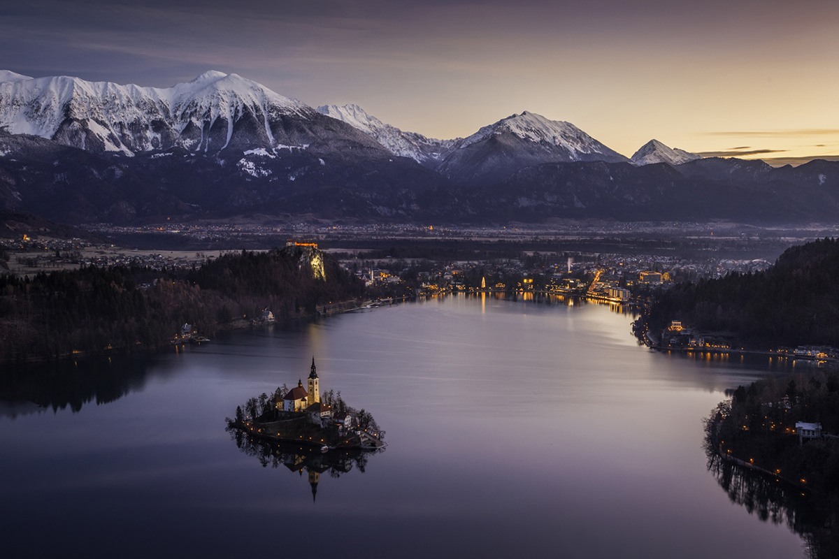 Lake Bled at dawn from Mala Osojnica in Slovenia.