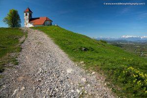 Hiking trail up to the church of Saint Ana (Sveta Ana) on the Ljubljana Marshes in Slovenia.