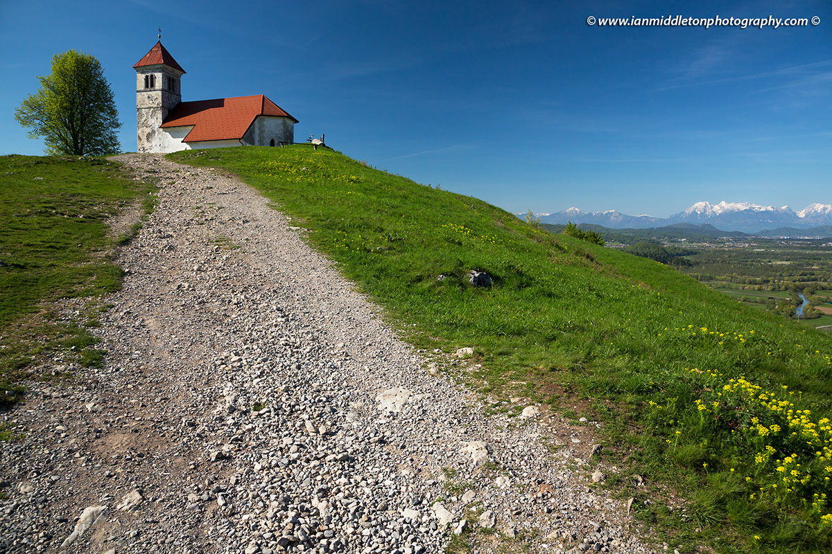 Hiking trail up to the church of Saint Ana (Sveta Ana) on the Ljubljana Marshes in Slovenia.