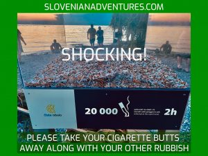 Slovenia Beaches - Cigarette butts on the Slovenian Coast
