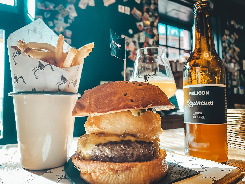 Burger at Pop's Place and Burger Bar in Ljubljana.